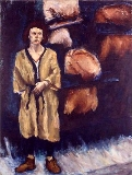 Painting: Lady with Kounellis' Background
